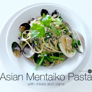 [recipe] Asian Mentaiko Pasta with chives and clams