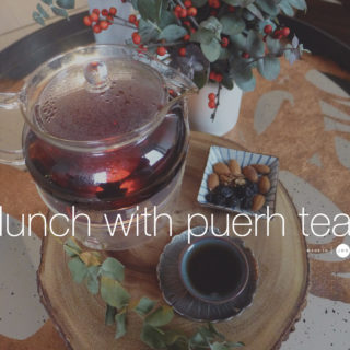 Lunch with a cup of puerh tea